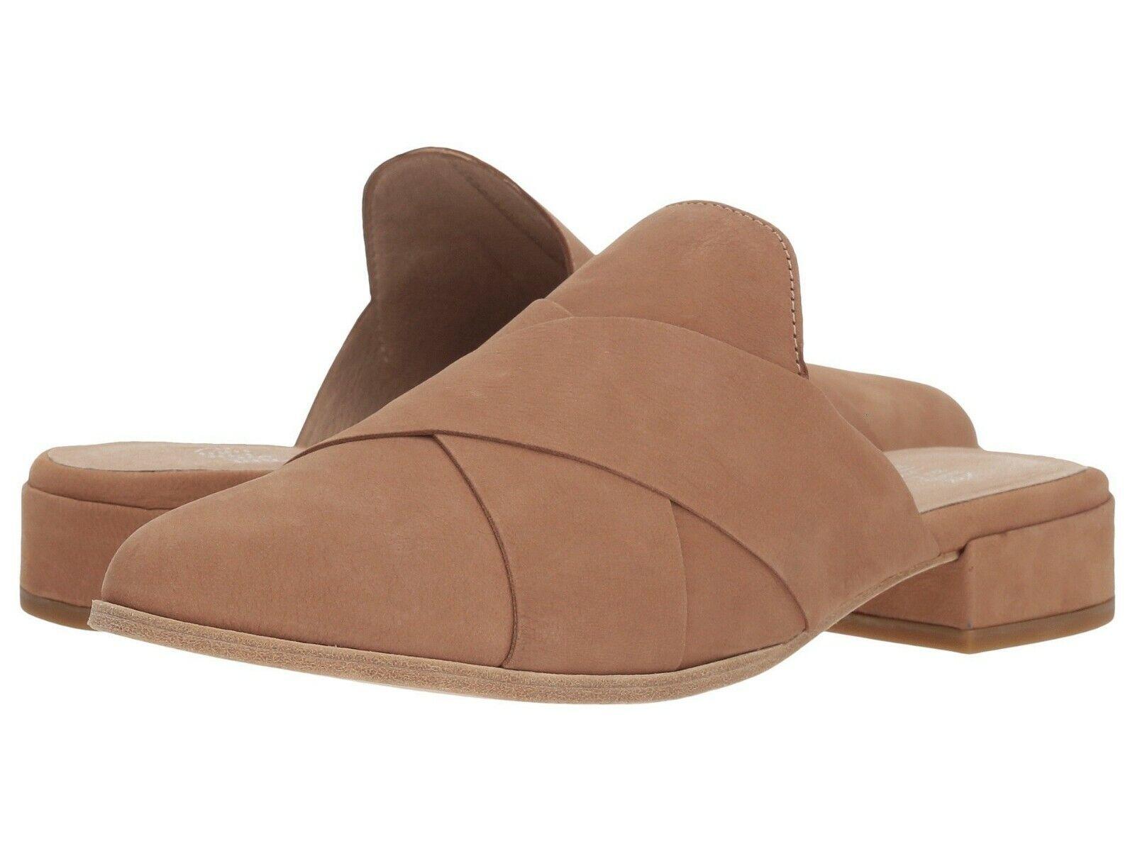 Eileen Fisher Women's Bauer Mule Crisscross Flat Wheat Nubuck Leather Size 6.5