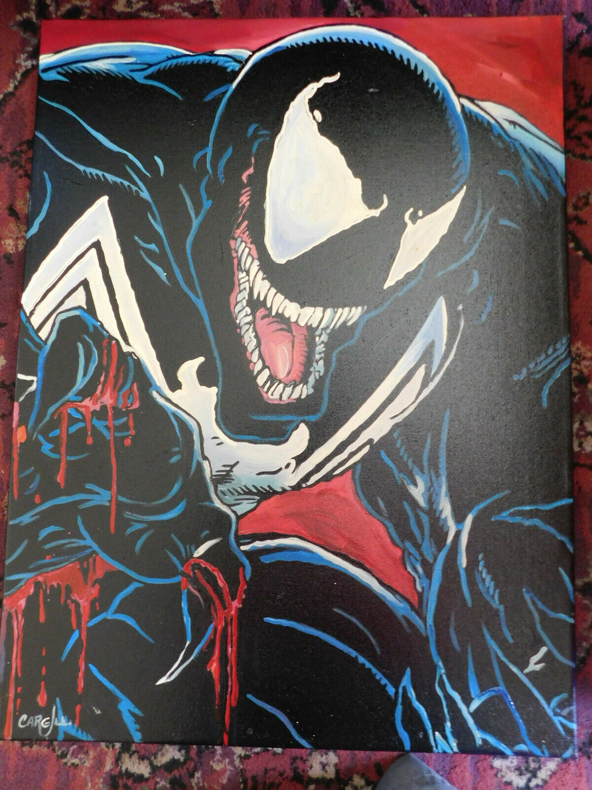 Marvel Venom ( Spider-man ) Hand Painted Art Canvas Signed