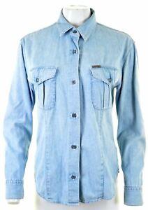 CALVIN-KLEIN-Womens-Denim-Shirt-SIze-14-Medium-Blue-Cotton-AE12