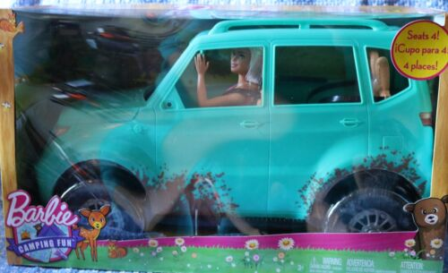 Barbie Camping fun SUV with barbie and Ken in distressed denim.