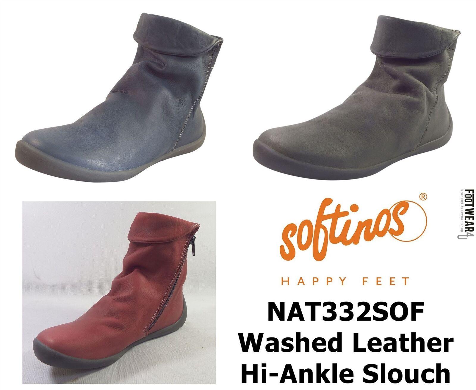 Softinos Donna NAT332SOF Morbido Lavato in pelle Stivali Morbidi alla Caviglia Hi