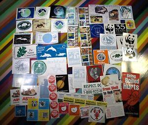 Vtg 1980s 00s Animal Rights Activism sticker - Greenpeace Ocean PETA WWF Audubon