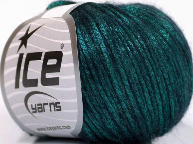 Rock Star 51555 Emerald Green Black Shiny Soft Nylon Merino Wool Yarn 50g  125y