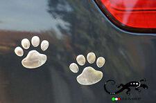 [ADESIVO] AUTO ZAMPE (coppia) ZAMPA 3D PORTAFORTUNA CROMATO sticker emblem car