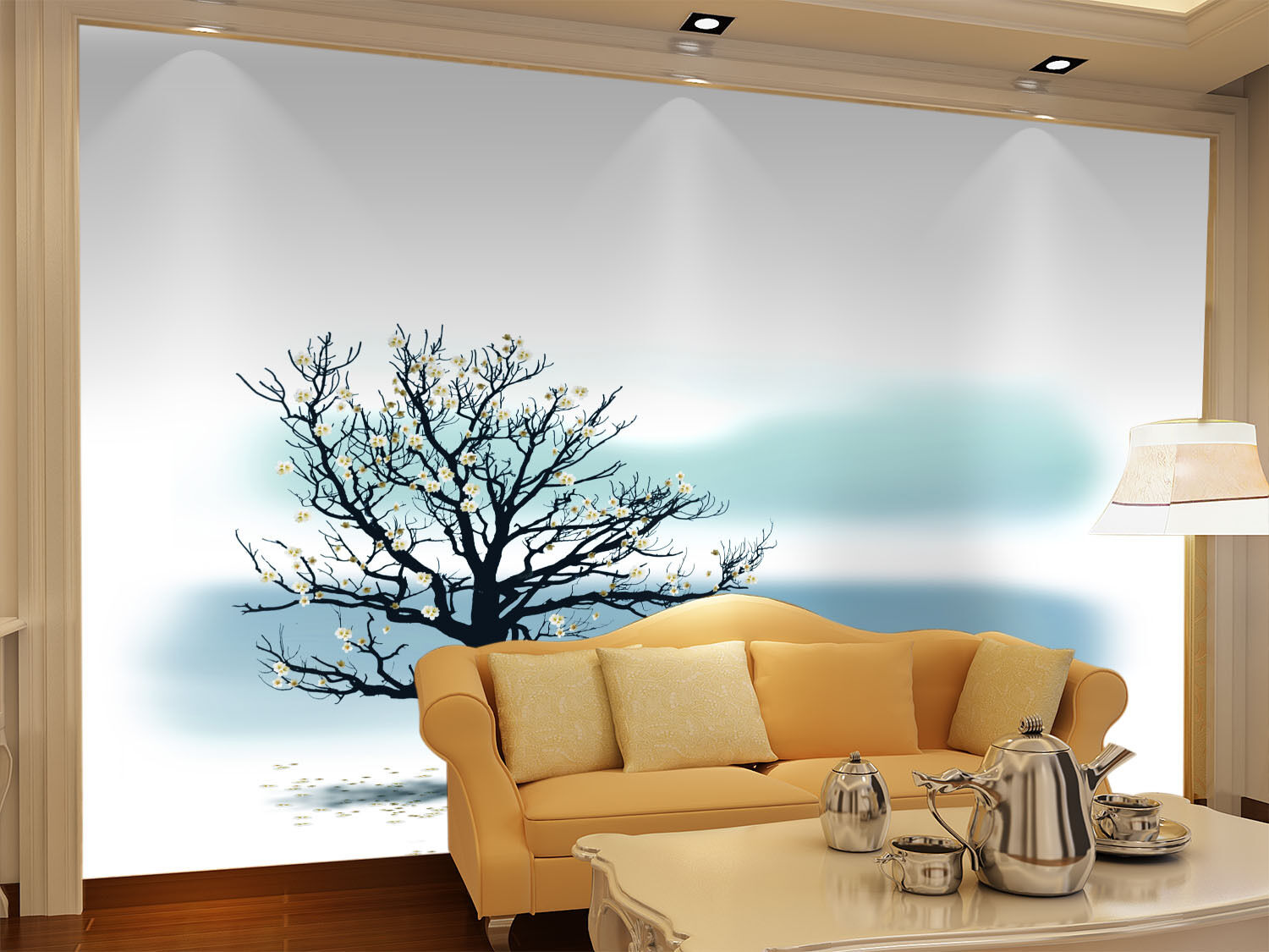 3D Flowering Tree 402 Wall Paper Wall Print Decal Wall Deco Wall Indoor Murals