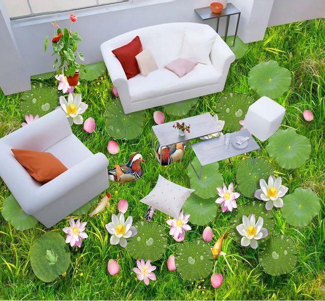 3D fish flower green 566 Floor WallPaper Murals Wall Print Decal 5D AJ WALLPAPER