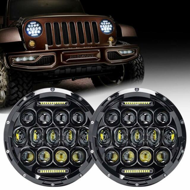 2 X 7 Round LED Headlights Headlamp Combo beam For Jeep Wrangler JK JKU TJ CJ LJ