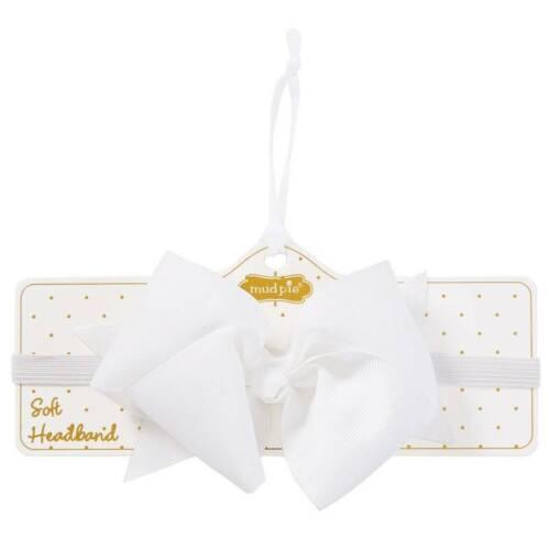 Mud Pie White Grosgrain Bow Soft Headband