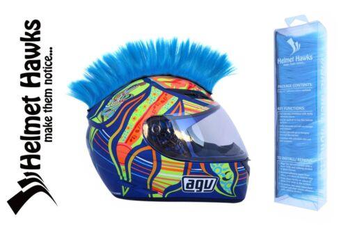 Helmet Hawks ™ Mohawk Fluorescent Neon Blue Motorcycle Bike BMX Helmet Mohawks