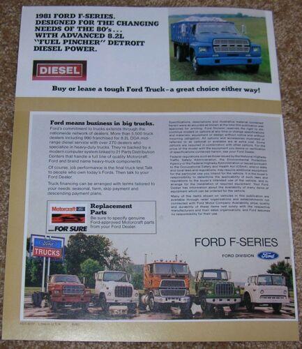 1981 Ford Truck F-Series F-600 F-700 F-800 Dealer Sales Brochure NOS 0.99 Ship