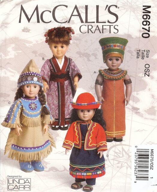 PATTERN toSew Native American Japanese clothes McCalls 6670 fit 18in girl doll
