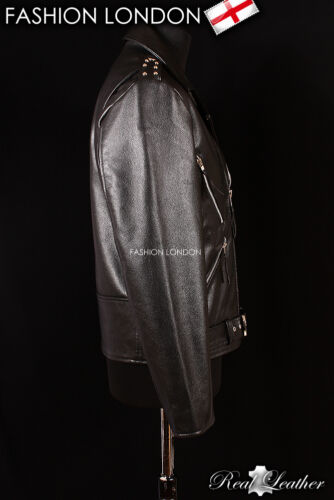 /'GHOST RIDER/' Mens Black Motorcycle Cruiser Movie Real Hide Leather Jacket