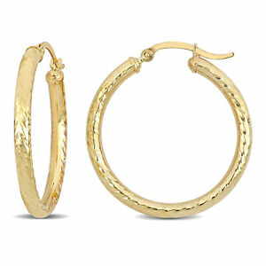 10K Yellow Gold 32mm Textured Hoop Earrings by Amour