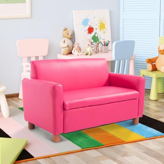 Kids Pink Sofa Children Leather Chair Seat Children S 2 Seater Storage Armchair