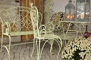 gartenmöbel antik gartenset landhaus weiss elegance terrasse ... - Gartenmobel Weis Metall
