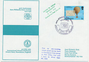 GB-1973-Jersey-3-P-FDC-used-on-Balloon-Flight-JERSEY-MANCHESTER-DOUBLE-USED