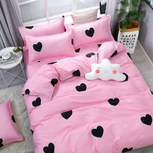 4PCS-Leopard-print-Pink-Bedding-Set-Duvet-Quilt-Cover-Sheet-Pillow-Cases-hot-sz