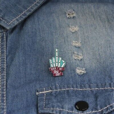 DILLIGAF SKELETON HAND FINGER METAL PIN BADGE