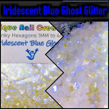 *LIMITED~GHOST IRIDESCENT BLUE MIXED SIZES HEXAGON-Nail Art•Face•Festival•USA💋