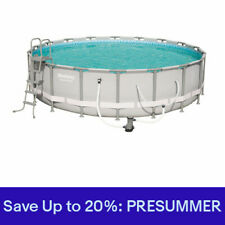 Bestway 18 x 4.3 Foot Reinforced Power Steel Frame Above Ground Swimming Pool