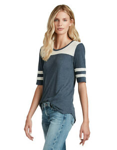 Lucky-Brand-Women-039-s-XS-NWT-Blue-Varsity-Striped-Elbow-Sleeve-Football-Tee