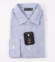 $350 Barba Napoli Blue Fine Stripe Textured Cotton Shirt 17.5 Modern-fit