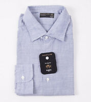 $350 Barba Napoli Blue Fine Stripe Textured Cotton Shirt 17.5 Modern-fit