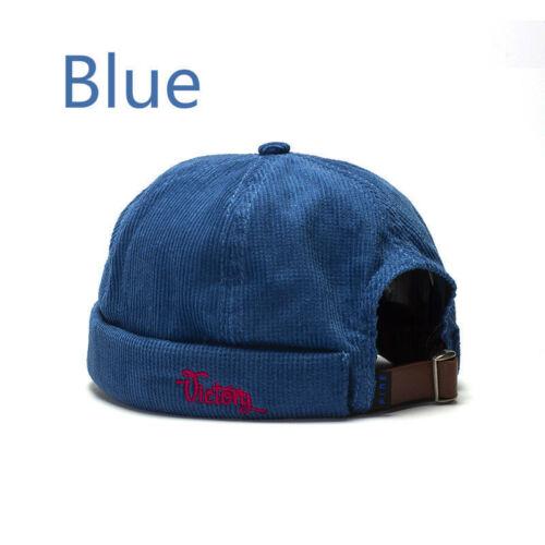 Unisex Men Skullcap Corduroy Sailor Hat Cap Beanie Hip Hop Retro Cuff Brimless