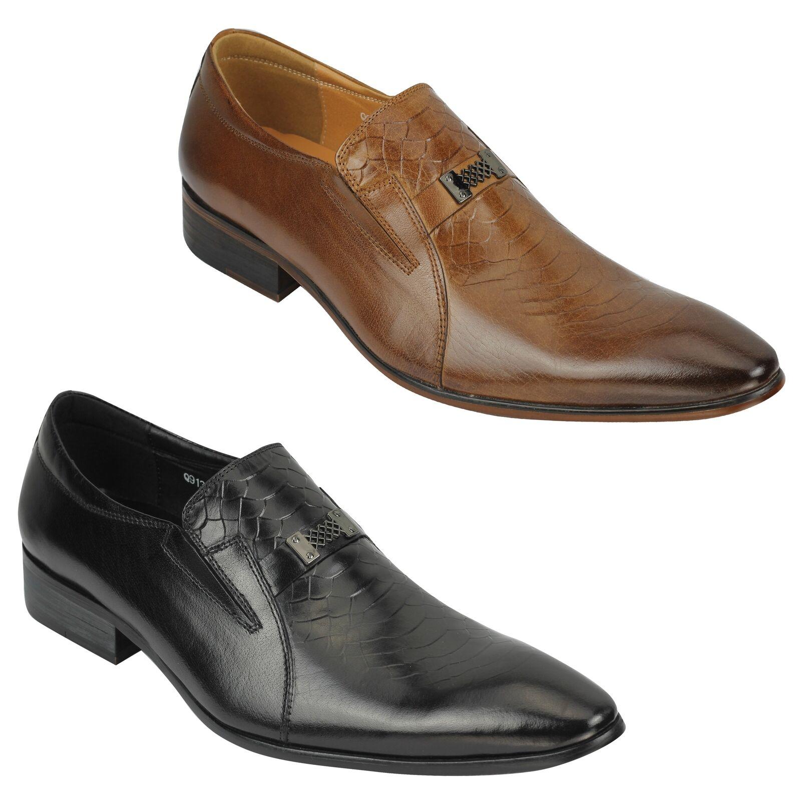 Hombre Cuero Real Piel De Serpiente Impresión Vintage Vintage Impresión Smart Casual Mocasines zapatos Bronceado, Negro 4290b6