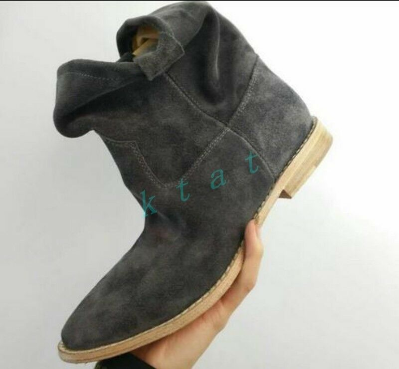 Roma Womens Suede Pull On Slouch Leather Casual Flat Shoes Punk Ankle Boots New