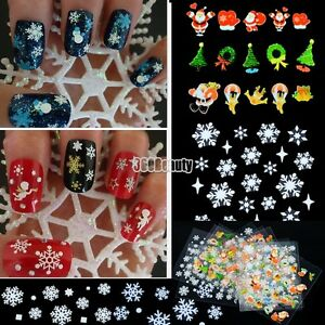 12-Sheet-Christmas-Snowflake-Tree-3D-Nail-Art-Sticker-Decal-Tips-Decoration-B5UT