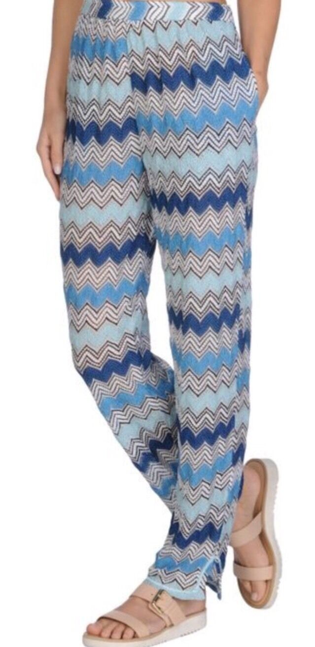 NWT Authentic MISSONI Mare bluee White ZigZag Beach PANTS Size 40 EU   M