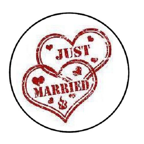 "48 Just Married Hearts!! ENVELOPE SEALS LABELS STICKERS 1.2/"" ROUND"