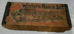 Vintage-Marx-Western-Ranch-set-with-tin-litho-house-and-accessories