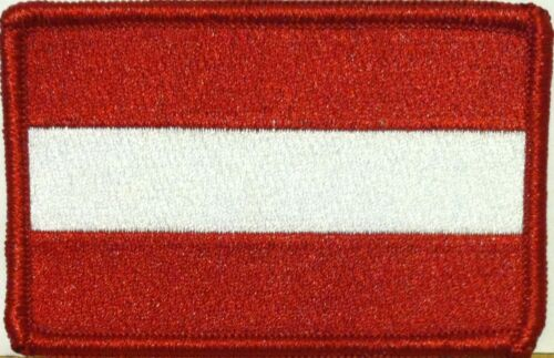 AUSTRIA Flag Patch With VELCRO® Brand Fastener Military Tactical Red Border
