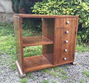petit meuble art deco bahut tag re noyer livraison possible ebay. Black Bedroom Furniture Sets. Home Design Ideas