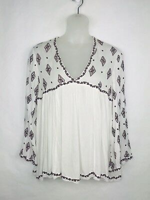 Free People OB475341 Diamond Embroidered Bell Long Sleeve Top Ivory