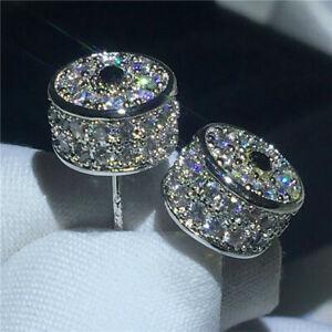 2-50Ct-Round-Cut-D-VVS1-Diamond-Stud-Earrings-Solid-14K-White-Gold-Finish