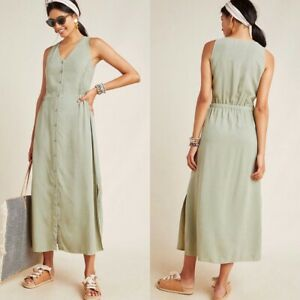 Cloth-amp-Stone-Anthropologie-Matcha-Maxi-Dress-Size-Medium-Green-Tencel-New