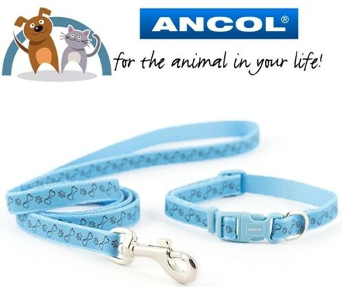 Ancol Small Bite Puppy Small Dog Collar and Lead Set Adjustable Paw /& Bone