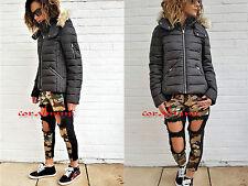 Zara NEW black WATER REPELLENT HOODED PUFFER COAT JACKET SIZE xs