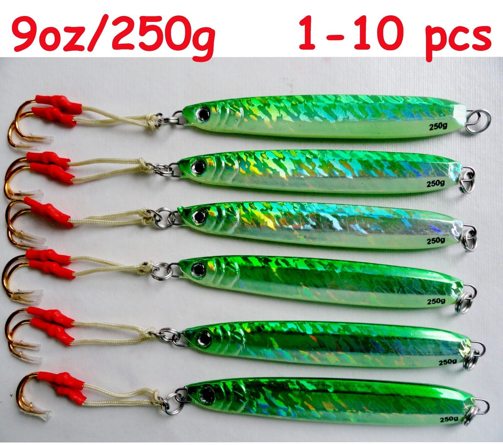 1-10 pcs Knife Jigs  9oz  250g Green greenical Butterfly Saltwater Lures  take up to 70% off
