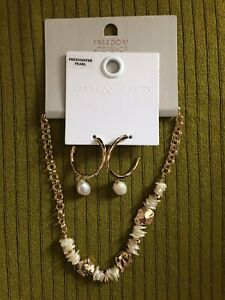 FREEDOM TOPSHOP LIARS & LOVERS FRESHWATER PEARL EARRINGS NECKLACE SUMMER HOLIDAY