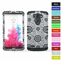 For LG G3 Flowers Design RKR Hard&Rubber Rugged Armor Protector Phone Case Cover
