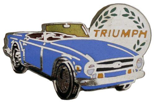 Triumph TR6 car cut out lapel pin French Blue