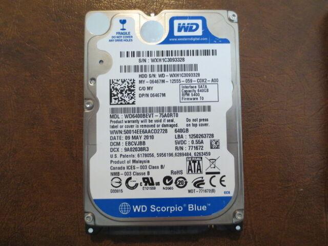 "Western Digital WD6400BEVT-75A0RT0 DCM:EBCVJBB 640gb 2.5"" Sata Hard Drive"