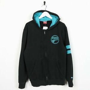 Vintage-PUMA-Small-Logo-Zip-Up-Hoodie-Sweatshirt-Blue-Black-Medium-M