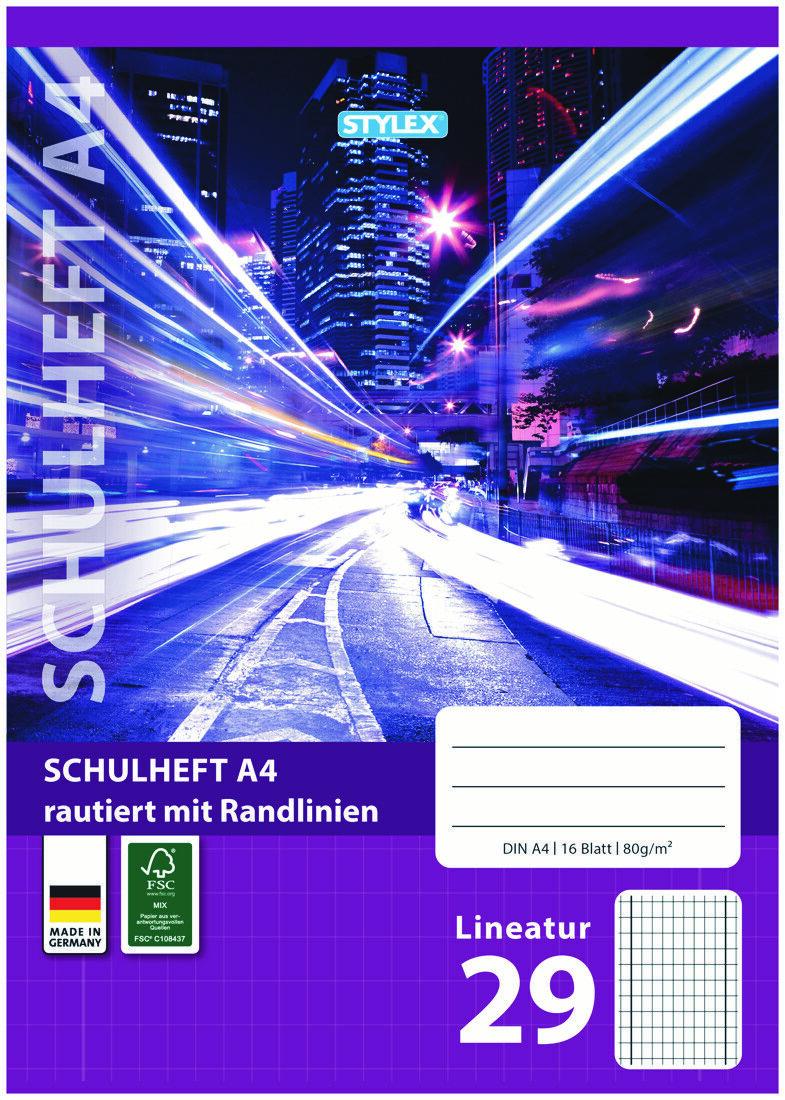 3 Schulhefte Lineatur 29 DIN A4 16 Blatt Kariert mit Rand gr Kästchen Schulheft