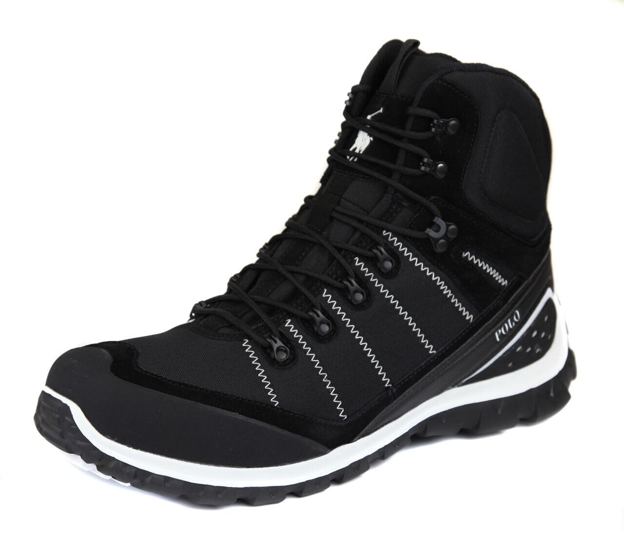 Polo Ralph Lauren Para hombres Negro blancoo S Con Cordones Zapatos Bota Ret  Nuevo
