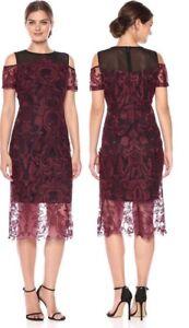 bbb710ee7ad Jax Black Label Black Wine Cold Shoulder Mesh Embroidered Lace ...